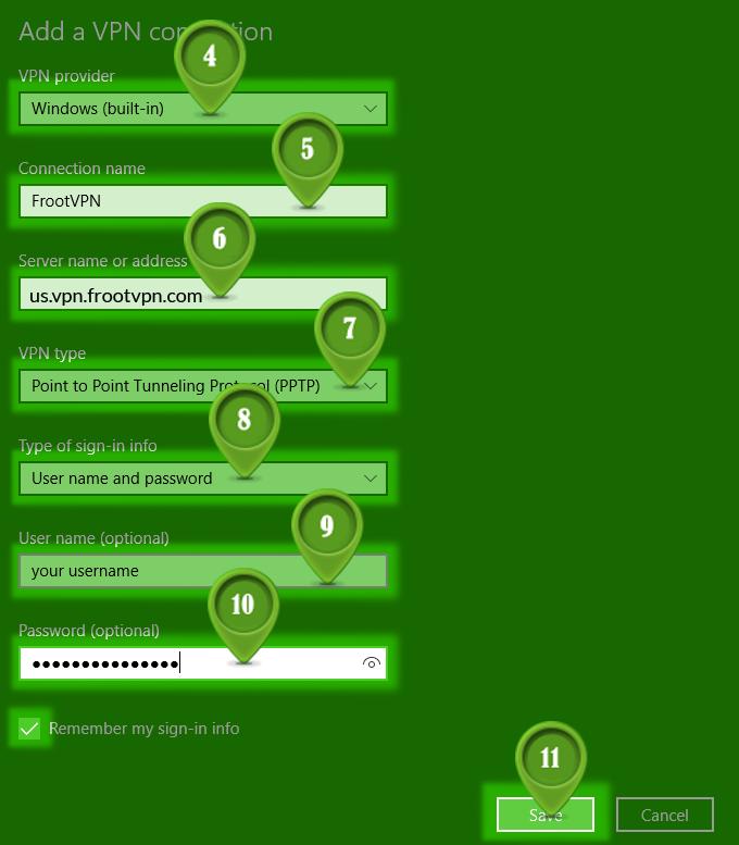 Best VPN PPTP for Windows 10   FrootVPN Setup